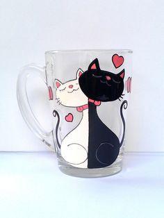 Cat Mug Couples Gift Love Mug Funny Mug. by PaintedglassbySveti