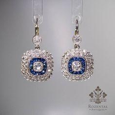 ANTIQUE EDWARDIAN PLATINUM DIAMOND & SAPPHIRE EARRINGS