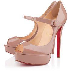 Christian Louboutin Bana ($845) ❤ liked on Polyvore featuring shoes, pumps, heels, christian louboutin, louboutin, nude, platforms, women, nude platform pumps and mary jane pumps