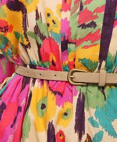 Floral Ikat Print Dress