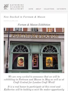Another great project to be involved in! Our new blog article below on Fortnum & Mason being a new stockist !!  As well as more info on Craftweek please click the link to see more!  http://www.katherineelizabethmillinery.com/Blog/Details/95/Now-Stocked-in-Fortnum-And-Mason   #events #craftweek #FortnumAndMason #Hats #Fashion #luxury #millinery #theplacetobe #LCW15