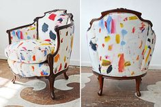 great chair makeover. great fabric. #interior #design #chair