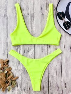 SHARE & Get it FREE | High Cut Scoop Bikini Set - Neon Yellow SFor Fashion Lovers only:80,000+ Items • New Arrivals Daily Join Zaful: Get YOUR $50 NOW!