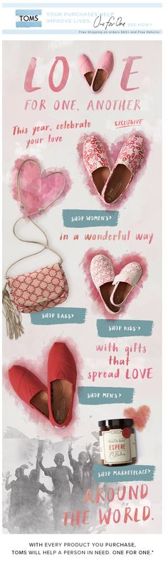 TOMS stole our hearts with this creative Valentine's email! Get lots more insight on email design here: http://emaildesign.beefree.io/2016/04/retail-email-design-inspiration-unique-ways-feature-products/