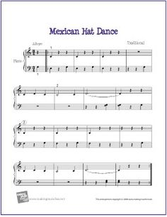 Mexican Hat Dance (La Raspa) | Free Sheet Music for Piano - http://makingmusicfun.net/htm/f_printit_free_printable_sheet_music/mexican-hat-dance-piano-solo.htm