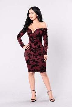 - Available in Burgundy - Off Shoulder - V Neck - Rose Print - Midi Dress - Velvet - Made in USA - 96% Polyester 4% Spandex, Lining 100% Polyester