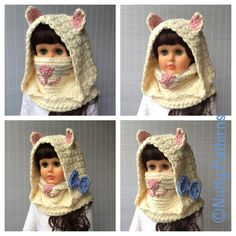 Crochet Patterns Angora Cat Hooded Cowl baby by nuttypatterns Nose Warmer, Angora Cats, Knitting Patterns, Crochet Patterns, Hooded Cowl, Super Bulky Yarn, Crochet For Kids, Crochet Winter, Doll Clothes Patterns