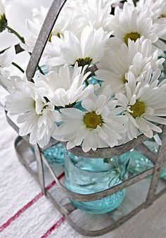 milk bottle basket w/daisies