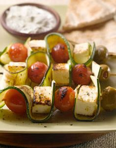Grilled Canadian Feta and Zucchini Ribbon Skewers with Creamy Lemon, Pepper and Oregano Sauce