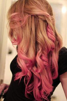 Blonde honey colored hair with pink ends, curly hair