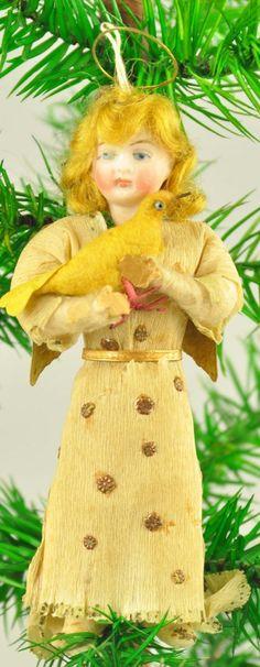 Spun cotton girl with bird