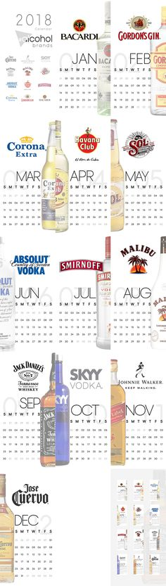 2018 calendar #alcoholbrands