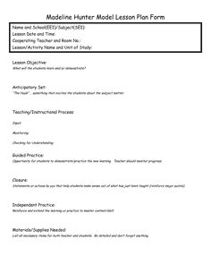 Madeline hunter lesson plan format with two objectives for Itip lesson plan template