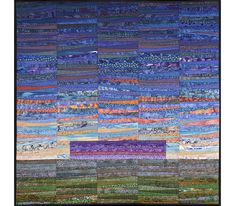 Modern quilt. Abstract landscape. Distant mountains. by AnnBrauer