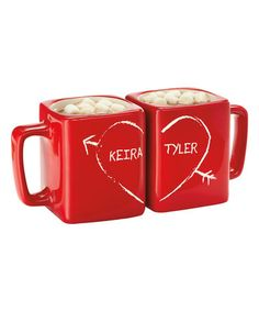 $22.99 marked down from $29.99! Red Half Heart Personalized Square Mug Set #personalized #mugs #gift #couple #zulilyfinds