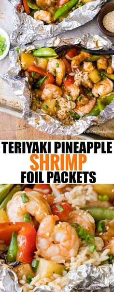 Pineapple Teriyaki Shrimp Foil Packets – Spend With Pennies Packets of Teriyaki Pineapple Shrimp Leaves Tin Foil Dinners, Foil Packet Dinners, Foil Pack Meals, Hobo Dinners, Easy Dinners, Grilling Recipes, Fish Recipes, Seafood Recipes, Cooking Recipes