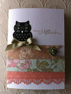 Owl handmade card for Mum on Mothers Day