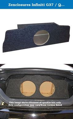 "Zenclosures Infiniti G37 / Q60 Coupe 1-10"" Subwoofer Box. Fits 1-10"" subwoofer, Fits 2008-2016 G37 Coupe / Q60 , Subs & Amps not included, Subwoofer Mounting depth - 8.25"", Mounting diameter - 9.125"", Airspace Volume per chamber - 0.75ft^3, Chambers - 1, Construction - Premium MDF, MDF thickness -0.75"", Finish - Charcoal Carpet, Speaker Wire Terminals - 1."