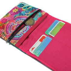 Portefeuille en tissu coloré femme fleuri - porte cartes, carte d'identité, monnaie