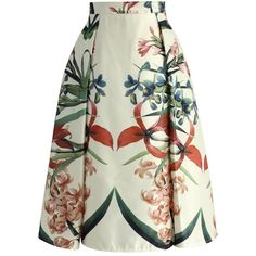 Chicwish Tropical Garden Floral Midi Skirt (920 MXN) ❤ liked on Polyvore featuring skirts, beige, beige midi skirt, beige pleated skirt, mid calf skirts, beige skirt and white skirt