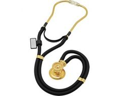 MDF® Sprague Rappaport Dual Head Stethoscope with Adult, Pediatric, and Infant Convertible Chestpiece - 22K Gold Edition - Black