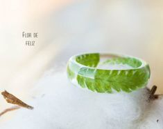 Real Fern Ring, Terrarium jewelry, Real flower ring, Botanical resin ring, Forest jewelry, Nature resin fern ring, Botanical Ring