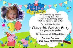 Personalizado De Peppa Pig Invitaciones Con Foto, Fiesta Cumpleaños Invitaciones