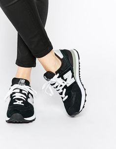 New Balance   New Balance 574 Black/White Suede Trainers at ASOS