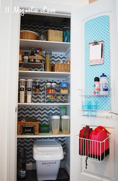 If you're organizing your pantry to get things ready for back to school and all of those lunches, then you're not alone. This colorful quatrefoil and chevron shelf paper from HomeGoods made this small pantry shine. Add baskets to organize small items and see-through canisters so you can easily see what you have on hand. A clipboard to hold your grocery list is a convenient touch, too. {Sponsored by HomeGoods}