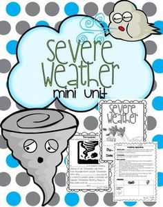 23 page mini unit all about storms and severe weather *Severe Weather included are hurricanes, tornadoes, thunder storms, and blizzards. Table of Contents 1. Vocabulary Cards (1 pg.) 2. Severe Weather Mini Book (10 pgs.) 3. Tornado In a Bottle Experiment (3 pgs.) 4.
