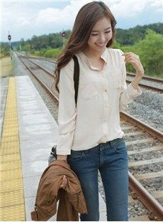 Casual Korean Style Stand Collar Pockets Blouse