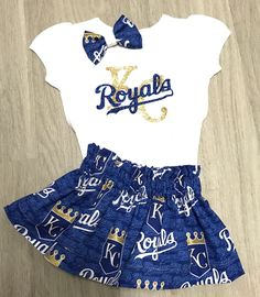 KC Royals baseball outfit//Baby girl Baby Boy onesie//Kansas City Royals girl//unisex kansas city royals top//boy or girl birthday outfit// by ClairesCreations15 on Etsy