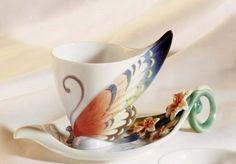 Franz Porcelain Blue Butterfly Cup & Saucer