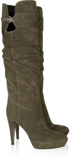 94dac34b0bfd Sergio Rossi ~ Suede Knee Boots.  lt 3 these olive boots (minus the