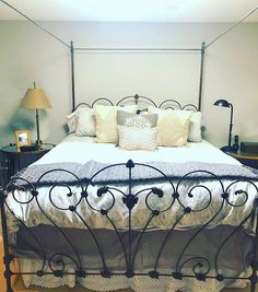 www.cathousebeds.com This beautiful king size canopy conversion started out as an antique iron double size Antique Iron, King Size, Canopy, Antiques, Bed, Furniture, Beautiful, Home Decor, Antiquities