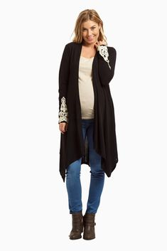 d40e80643 Black Crochet Cuff Open Long Maternity Cardigan Embarazo