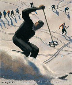 Alfons Walde - The Swing great ski artist Ski Posters, Cool Posters, Sports Posters, Vintage Ski, Vintage Travel Posters, Cardboard Painting, Kunst Online, Beach Trip, Hawaii Beach
