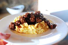 PW's Spicy Stewed Beef with Creamy Cheddar Grits