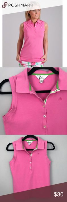 Lilly Pulitzer Sleeveless Pink Polo Shirt - Size S Lilly Pulitzer Sleeveless Pink Polo Shirt - Size S  - Lilly Pulitzer - 95% Pima Cotton 5% Spandex - Size Small - Sleeveless Pink Polo Shirt - Pique texture - Knit Collar - Tonal embroidered Palm Tree Logo - 5 Button placket (longer placket for flattering fit) - Good condition, light wash wear Lilly Pulitzer Tops