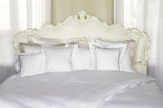 """With our Sweet Dreams design, we wish you a """"good night"""" in five different languages. The words are embroidered on white satin in a lovely decorative font. The playful design is available in different colours. Mako Satin, Luxury Bedding Sets, Linen Bedding, Bed Linen, Bed Pillows, Pillow Cases, Home And Garden, The Incredibles, House"""