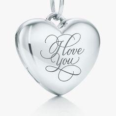 "Open your heart. ""I Love You"" heart locket in sterling silver. #TiffanyPinterest"