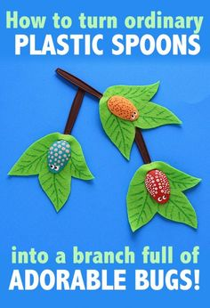 I love this ADORABLE craft -- Plastic Spoon Craft: Bugs on a Branch by Amanda Formaro of Crafts by Amanda