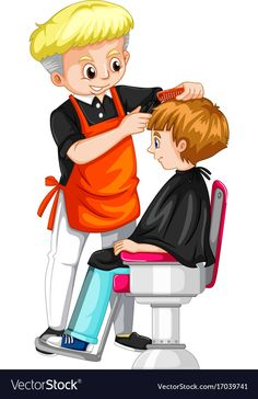 Little boy getting haircut at barber Royalty Free Vector Dog Coloring Page, Coloring Book Pages, Cartoon Pics, Cartoon Drawings, Flashcards For Kids, Little Boy Haircuts, Baby Clip Art, Disney Cartoons, Happy Campers