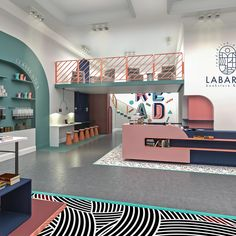 Labarre Bookstore & Cafe Labarre Bookstore & Cafe about packaging the world – Creative Package Design Gallery Shopping Interior, Retail Interior, Cafe Interior, Office Interior Design, Interior Exterior, Office Interiors, Interior Design Inspiration, Interior Architecture, Memphis Design
