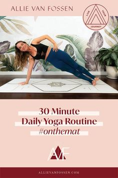 Searching for ONE DAILY YOGA ROUTINE to do on repeat, stretch, strengthen & cultivate consistency on the mat? This 30 min daily yoga routine builds strength in body, mind & soul to take off the mat, build routine & lead a wholesome, fulfilling life as your badass self! Pin now & take the first step to feeling empowered, centered and whole with me later! Allie, xx #30minyoga #dailyyogaroutine #allievanfossen Daily Yoga Routine, Yoga Routine For Beginners, Yoga Inversions, Vinyasa Yoga, 30 Minute Yoga, Beginner Yoga Workout, Gentle Yoga, Advanced Yoga, Yoga For Flexibility