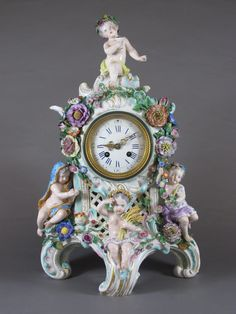 A Meissen cased French 8 day striking mantel clock with Roman numerals and enamelled dial contained in an allegorical porcelain case depicting the four seasons, firing crack to base, with crossed sword mark, Antique Furniture, Plywood Furniture, Furniture Decor, Modern Furniture, Furniture Design, Grandmother Clock, Mantel Clocks, Wall Clocks, Antique Clocks