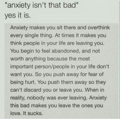 """I really don't like it when people say """"well anxiety isn't as bad as depression"""" because it can be for a lot of people. Anxiety leads to depression a lot of times."""