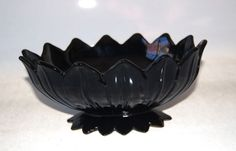 """Westmoreland Glass Lotus Black Oval Bell Bowl Footed 11"""" Marked #Westmoreland #lotus"""