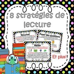 This file includes 8 French Reading Strategies posters. The posters included are:1. Summarizing / Rsumer2. Asking questions / Poser des questions3. Making Connections / Relier4. Predicting / Prdire5. Visualizing / Visualiser6. Determining Importance / Dterminer l'importance7.