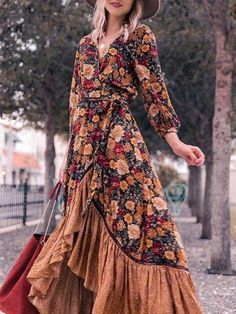 Buy Vintage Dresses Spring Dresses For Women at wedreammore. Online Shopping wedreammore Casual Dresses Vintage Dresses Daily A-Line V Neck Floral-Print 3/4 Sleeve Casual Dresses, The Best Daily Spring Dresses. Discover Fashion Trends at justfashion #CucumberBeautyTips